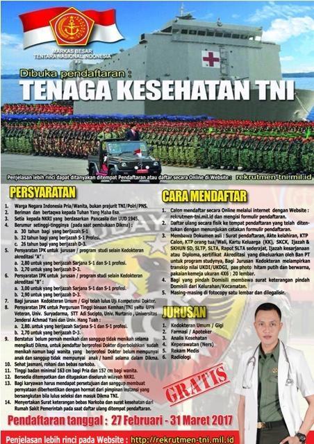 Penerimaan Calon Perwira Prajurit Karier (Pa PK) TNI Tenaga Kesehatan TA. 2017