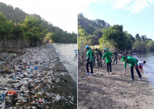 Pantai di Bima Ini Awalnya Penuh Dengan Sampah, Ketika TNI Tiba Langsung Bersih Seketika