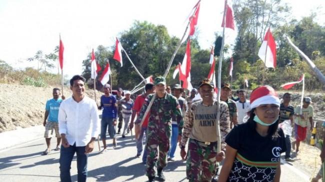 Mengharukan, 1.000 Bendera Merah Putih Berkibar di Perbatasan RI-RDTL