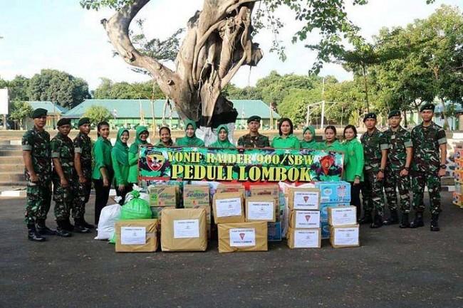 Peduli Gempa Lombok, Yonif Raider 900/SBW Lakukan Hal Ini