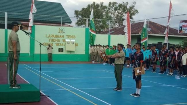 Meriahkan HUT TNI ke-73, Kodim 1624/Flotim Gelar Pertandingan Bola Voli Antar Pelajar