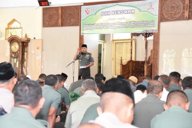 Sikapi Terjadinya Runtutan Bencana Alam di Wilayah Indonesia, Korem 161/WS Gelar Doa Bersama