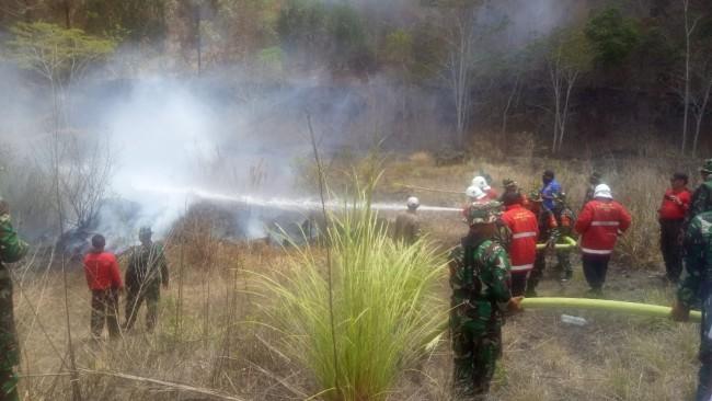 Korem 163/Wira Satya Gandeng Instansi Terkait Gelar Latihan Gulbencal Kebakaran Hutan