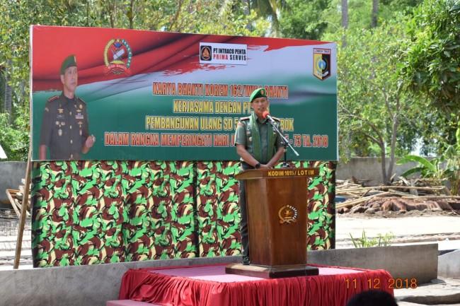 Danrem 162/WB Letakan Batu Pertama Pembangunan SDN 5 Labuan Lombok