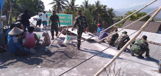 Koramil Utan Rhee Turun Gotong Royong Bangun Masjid Darul Falah