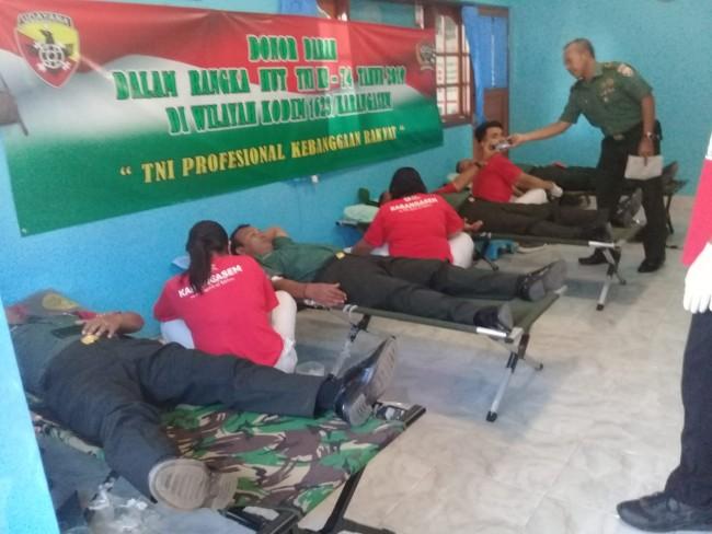Gelar Donor Darah Peringati HUT ke 74 TNI, Kodim 1623/Karangasem Gandeng PMI