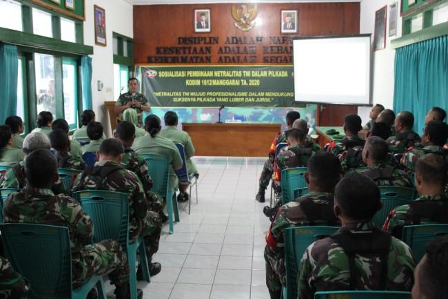 Bersikap Tidak Memihak, Kodim 1612/Manggarai Adakan Sosialisasi Netralitas TNI Menjelang Pilkada