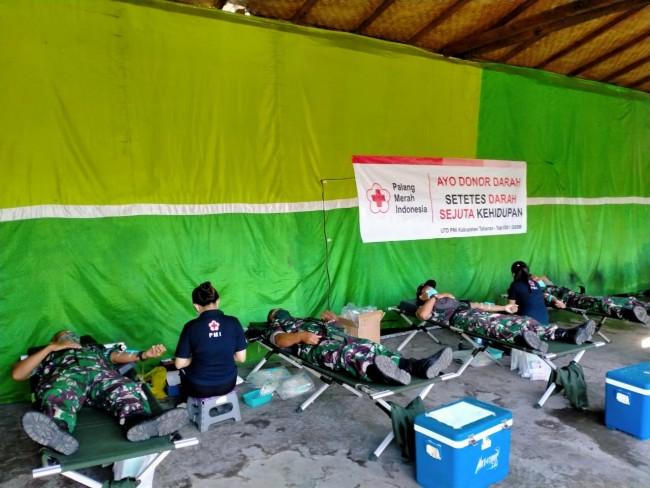 Bantu Persediaan Darah Ditengah Mewabahnya Covid-19, Kodim 1619/Tabanan Gelar Donor Darah