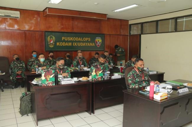"""Kodam IX/Udayana Ikuti Rapat Evaluasi """"Terwujudnya Dukungan Logistik Angkatan Darat Yang Profesional"""""""