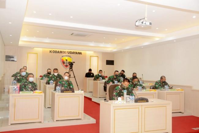 Dipimpin Kasad, Pangdam Ikuti Vidcon Terkait Pelibatan TNI Dalam Pengamanan Unjuk Rasa