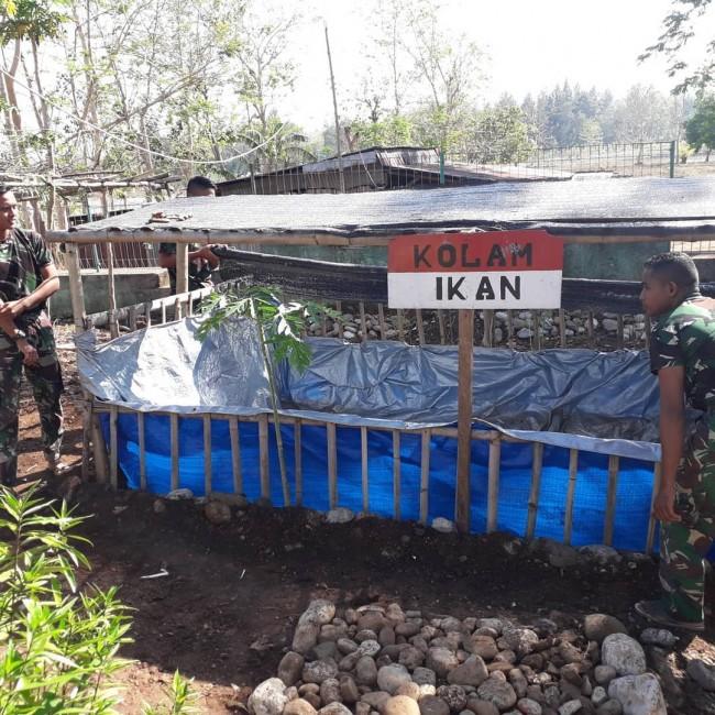 Wujudkan Ketahanan Pangan, Pos Nunura Satgas Yonif RK 744/SYB Budidaya Ikan Lele
