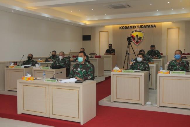 Kapok Sahli Pangdam IX/Udy Ikuti Rakor Satgas Penanganan Covid-19 Nasional