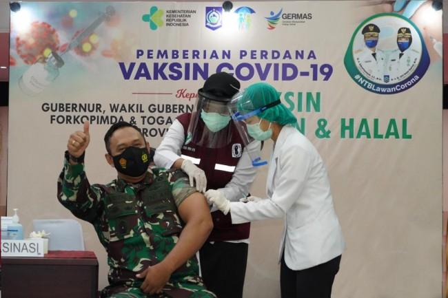 Danrem 162/WB Bersama Forkopimda NTB Ikut Vaksinasi Covid-19