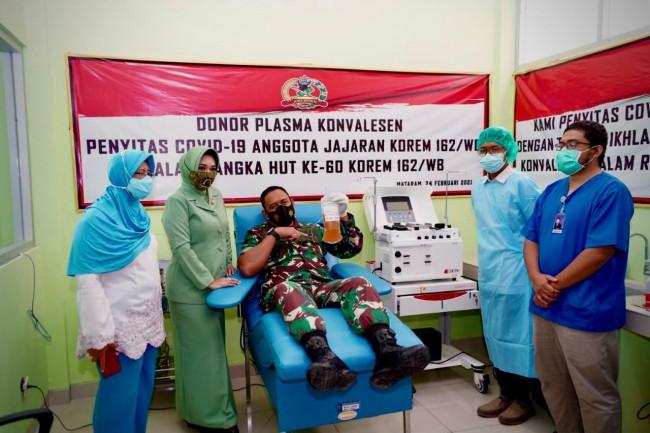 Bakti Sosial Donor Darah Dan Donor Plasma Konvalesen Iringi Peringatan HUT Korem 162/WB Ke-60