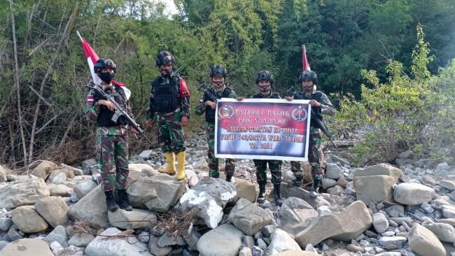 Patok Perbatasan Hilang Pasca Banjir, Patop Satgas Pamtas RI-RDTL Sektor Timur Lakukan Pengecekan