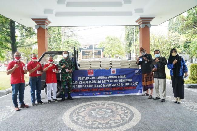 INTI Bali Bersama Korem 163/WSA dan LPP RRI Denpasar Salurkan Bantuan Sembako