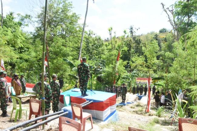 Di Lokasi Pompa Hidram, Korem 161/Wira Sakti Laksanakan Upacara HUT ke-76 TNI Tahun 2021