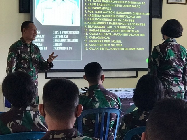 Orientasi Perwira Remaja, Bintaldam IX/Udayana Beri Pembekalan Sejarah Satuan
