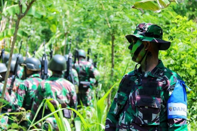 Yonif Raider 900/SBW Gelar Latihan UST Tingkat Peleton di Daerah Latihan Pulaki