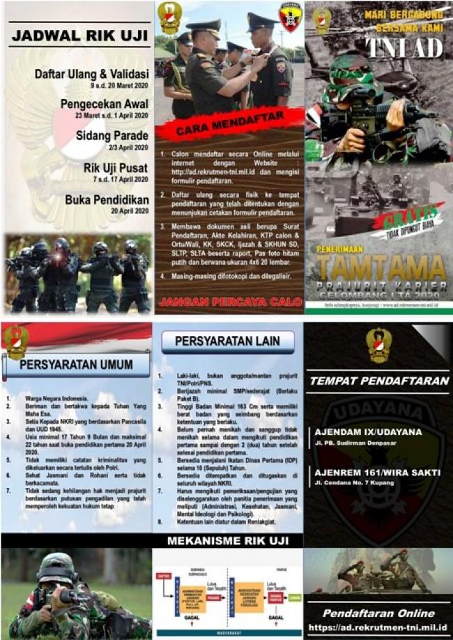 PENERIMAAN PRAJURIT TAMTAMA PK TNI AD GEL 1 TA. 2020